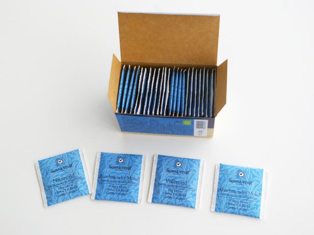 ゾネントア,月のお茶,ビューティフル マジック ムーンティーの4種類のティーバッグ
