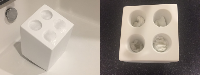 IDEACOのミニキューブを洗っている様子