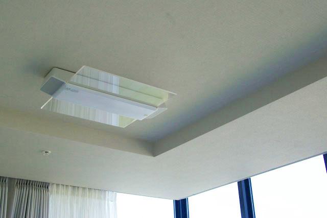 天井に取り付けられたパナソニックのスピーカー付きのシーリングライト,LINK STYLE LED シーリングライト,HH-XCC0887A,AIR PANEL LED,