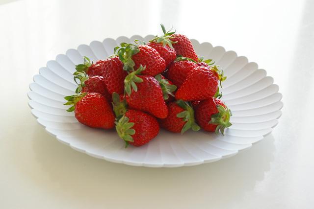 TYパレスのお皿の上に苺がのせられている