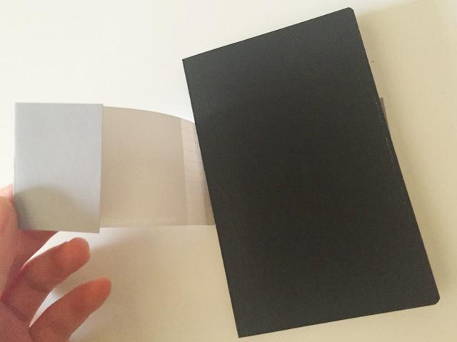 エトランジェ ディ コスタリカのポケットサイズのノートの帯をはずしている,