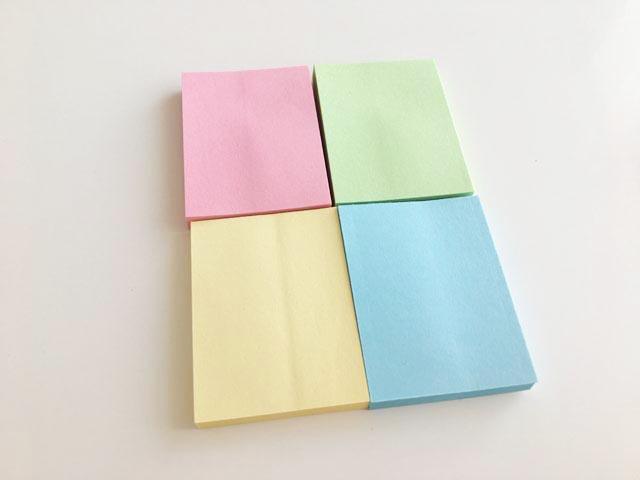 セリアの38㎜×50mmのふせん,薄ピンク、薄きみどり、薄きいろ、みずいろの4色のふせん,Sticky Memo,
