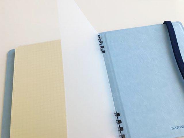ロルバーン,フレキシブル,ノートの最後に透明のプラスチックのカバーがついている様子,Rollbahn,