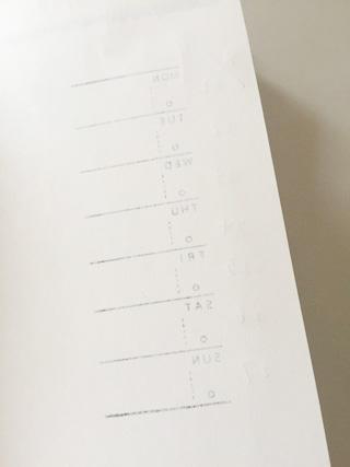 週間スケジュールスタンプ,ホリゾンタルをノートに押して裏から見た状態