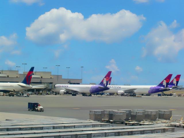 ホノルル国際空港の飛行場にハワイアン航空の飛行機が並んでいる