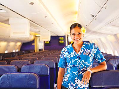 ハワイアン航空,機内,客室乗務員