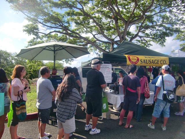 ハワイのKCCファーマーズマーケットKUKUI SAUSAGE